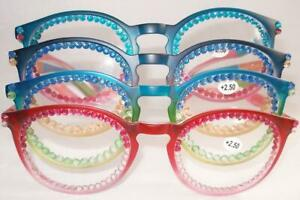 READING GLASSES 4 PAIR LOT READERS 2 COLOR/TONE BEAUTIES 2.50 STRENGTH FREE SHIP