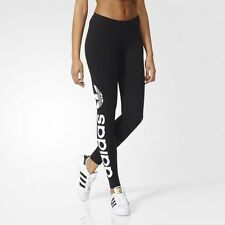 NEW WOMEN'S ADIDAS ORIGINALS LINEAR LEGGINGS [AJ8081]  BLACK//WHITE