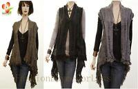 Celebrity Women Boho Renaissance Peasant Fringe Knit Sweater Cardigan Vest Top