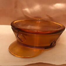 ANTIQUE PADEN CITY AMBER GLASS MILITARY HAT CANDY/POWDER DISH