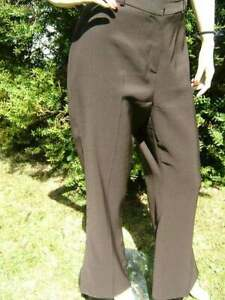 20/6 PREOWNED CHOCOLATE BROWN SPLIT HEM STRETCHY POLYESTER BON MARCHE TROUSERS14