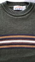 T.A.T.2 Mens Size Med Sweater Vintage 80s 90s Olive Green Brown Stripes USA Made