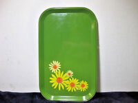 Vintage 1960s & 70s avocado-green metal tray with 5 yellow white orange daisies