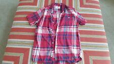 Mens Modern Amusement M red blk plaid flannel short sleeve button up shirt
