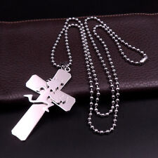 "Cross Hatchetman ICP Juggalo cross pendant S.steel silver Ball necklace30"" charm"