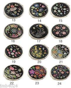 MOP Makeup Cosmetic Handbag Vanity Compact handheld mirror 12 flower patterns