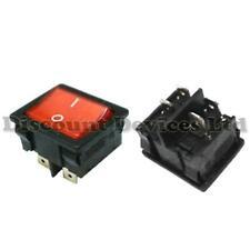 Rocker Switch On-(Off) DPST 2Circuits 10A/250VAC Red/Black Light:230VAC 22x19mm