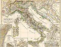 🦎 173 Jahre alte Landkarte 1450 -1792 GENUA Pavia VENEDIG Valetta Torrello 1846