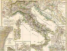 🎄172 Jahre alte Landkarte 1450 -1792 GENUA Pavia VENEDIG Valetta Torrello 1846