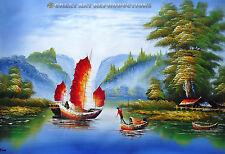 "Yangtze River Scene, Chinese fishing boats, 36""x25"""
