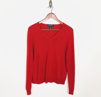 Brooks Brothers Women's Wool Silk Cashmere V-neck Sweater Size Large Red
