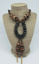 Women's Statement Fashion Necklace Multi Shapes & Size Beads Browns Eccentric