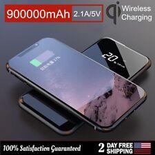 900000mAh Portable Power Bank Qi Wireless 2USB External Battery Pack Charger