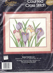 "Snow Crocus Flowers LARGE Candamar Counted Cross Stitch Kit Golden Bee 14""x11"""
