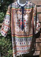 NWT Kyla Seo Women's Small Artsy Abstract Paisley Tunic Top silk feel poly India