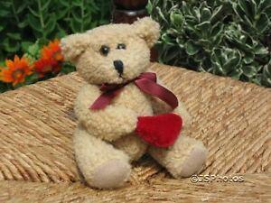 UK Miniature Valentine Bear Holding Velvet Heart