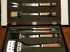 Set of 5 Bbq Grill Set Stainless Steel Tools Utensils Wood Case Cooking Outdoor
