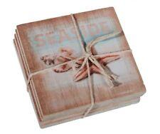 Untersetzer Maritim Seaside Seestern Muschel Holz Holzuntersetzer Meer Vintage