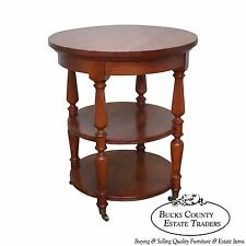 Harden Solid Cherry Round Circular 3 Tier Side Table