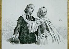 XIXe Début XX Dessin Original Encre Maurice LELOIR Femme Prêtre Art Illustration