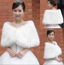New White Faux Fur Wedding Bridal Shawl Wrap Stole Shrug Jacket Cape