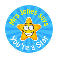80 Personalised Teacher Reward Stickers for Pupils You're a Star teacher gift