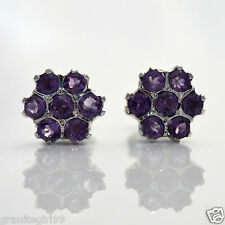 Genuine 1.40ct Purple Amethyst Flower Shaped Stud Earrings 925 Sterling Silver