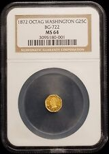 1872 Washington Head Octagonal 25c California Fractional Gold BG-722 NGC MS64