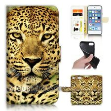 ( For iPod Touch 6 ) Wallet Flip Case Cover AJ21047 African Leopard