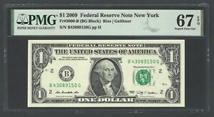 United State - Federal Reserve Note 1$ 2009 Fr3000-B(BG Block) Grade 67