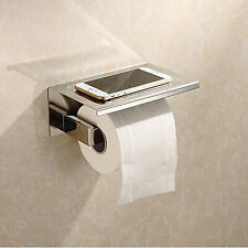 SUS 304  Toilet Paper Holder Tissue Roll Hanger With Phone Storage Shelf