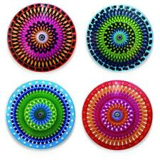 Kikkerland Moire Rotating Kaleidoscope Drink Coasters MULTI-COLOR set 4 designs