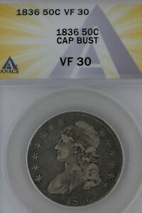 1836 .50  ANACS  VF 30  CAP BUST  1800's Capped Bust Half Dollar, Miss Liberty