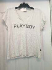 PLAYBOY INTIMATES A82 Beige Short Sleeve Graphic Top Size L