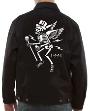 Lucky 13 Mr Skully Skeleton Tattoos Punk Rockabilly Bomber Chino Jacket LM9081MS