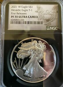 🇺🇸2021 W Silver Heraldic Eagle: TYPE I First Release PF70 Ultra Cam| NGC BLACK