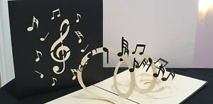 3D Pop Up Beautiful Music Note Card. For All Occassions