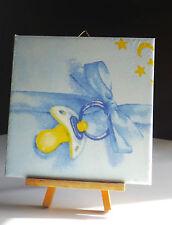 Dekofliese Geburtstag Danke Mitbringsel Geschenkidee Babyschnuller Blau (039)