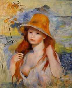 Full Drill Diamond Painting Kit Young Woman In A Straw Hat Renoir Pierre-Auguste