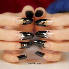 False Nails - Full Cover Long Oval Black 3d Rivet Gems  Glitter Gold pattern