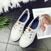 Women's Casual Faux Leather Lace Up Korean Pearls Flats White Chic Shoes Size 12