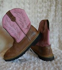 John Deere Pink Tan Leather Pull On Western Cowgirl Boots Shoes Sz 4 Youth Kids