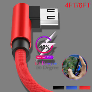 Micro USB Fast Charger Charging Cable Cord 90 Degree Angle Braided Rope