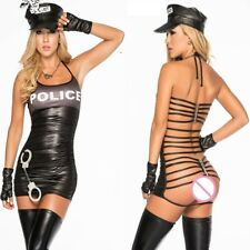 Womens PVC Cop Police costume, outfit, clubwear PVC wet look party Size M/L