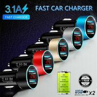 1 X Dual USB Car Cigarette Charger with LED Display Volt Amp Meter 3.1A 12V-24V