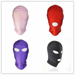 Slave Spandex Mask Padded Blindfold Headgear Mouth Eye Open Facemask Restraints