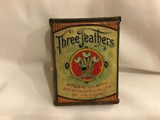 "Rare 1900s""Three Feathers"" litho hinged tobacco pocket tobacco tin antique old"