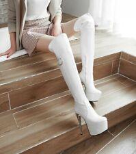 Womens Patent Leather Stiletto Heel Platform Over Knee High Boots Nightclub Sexy