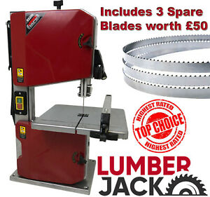 """Lumberjack 8"""" Woodworking Bandsaw Bench Top with Table Light Fence & Blade 230v"""