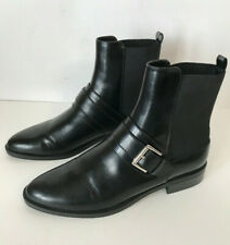 Zara Women Size 41 Ankle Boots Black Flat Heel Pointed Toe  USA size 10 Buckle